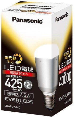 パナソニック LED電球 60形 調光対応 電球色 LDA8LA1D 00002453 【まとめ買い3個セット】
