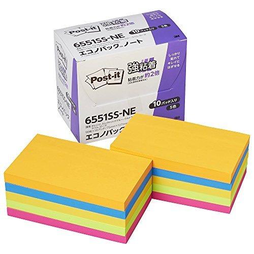 スリーエム エコノパックTM 強粘着ノート 5色混色 6551SS-NE 00014957 【まとめ買い3個セット】