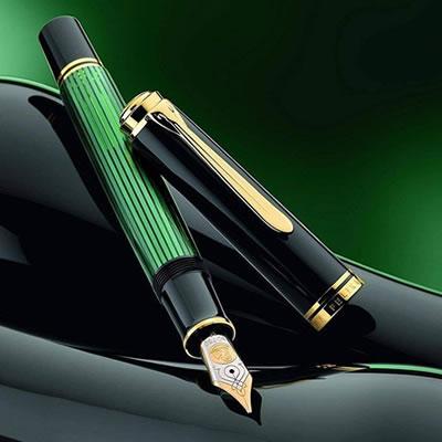 【送料無料】ペリカン 万年筆 スーベレーン M1000 ブラック/グリーン 緑縞 グリーン縞