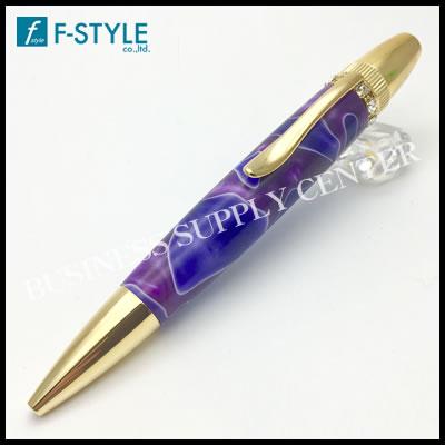 【送料無料】F-STYLE(エフスタイル) Acrylic&Ring Purple スワロフスキーTop ボールペン パープル TAS1700