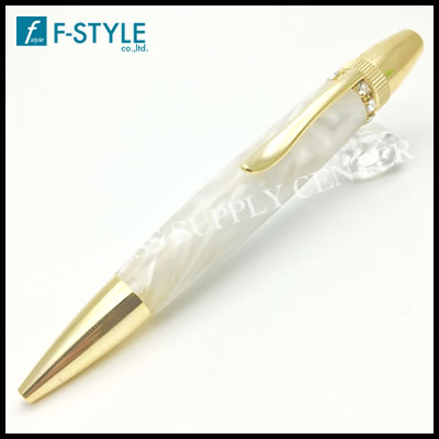 【送料無料】F-STYLE(エフスタイル) Acrylic&Ring White スワロフスキーTop ボールペン ホワイト TAS1700