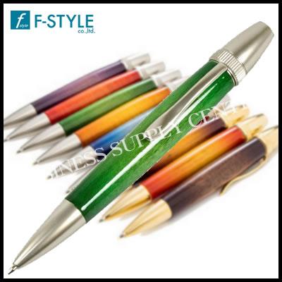 【送料無料】F-STYLE(エフスタイル) Air Brush Wood Pen San Burst Candy Color/GR(キャンディカラーギター塗装) カーリーメイプル グリーン ボールペン TGT1611