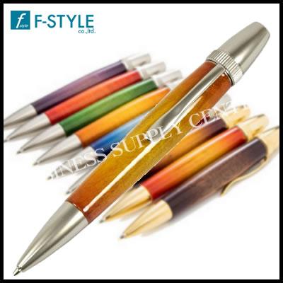 【送料無料】F-STYLE(エフスタイル) Air Brush Wood Pen San Burst Candy Color/YE(キャンディカラーギター塗装) カーリーメイプル イエロー ボールペン TGT1611
