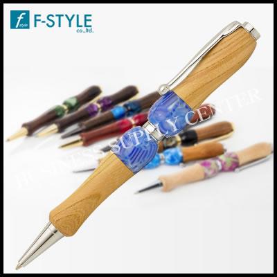 【ネコポス可能】F-STYLE(エフスタイル) Acrylic&Wood けやき×BL ハワイアンミスト ボールペン ブルー TWD1603