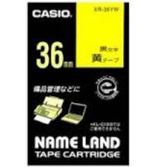 カシオ ネームランド用テープカートリッジ カシオXR-36YW 38713 ※アウトレット品 36mm幅 黄 ファッション通販 8m 黒文字