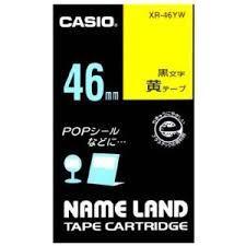 カシオ ネームランド用テープカートリッジ カシオXR-46YW 31128 黒文字 6m 発売モデル 黄 46mm幅 海外輸入