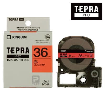 公共の大きなサインに はがきや封筒の宛名ラベルに キングジム テプラPRO用 テープカートリッジ カラーラベル 幅36mm 限定品 パステル 長さ8m 完売 SC36R 黒文字 ラベル赤