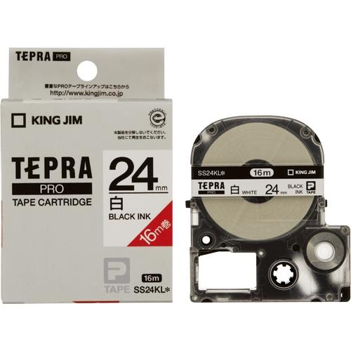 PROテープロングSS24KL 白に黒字 24mm 20個