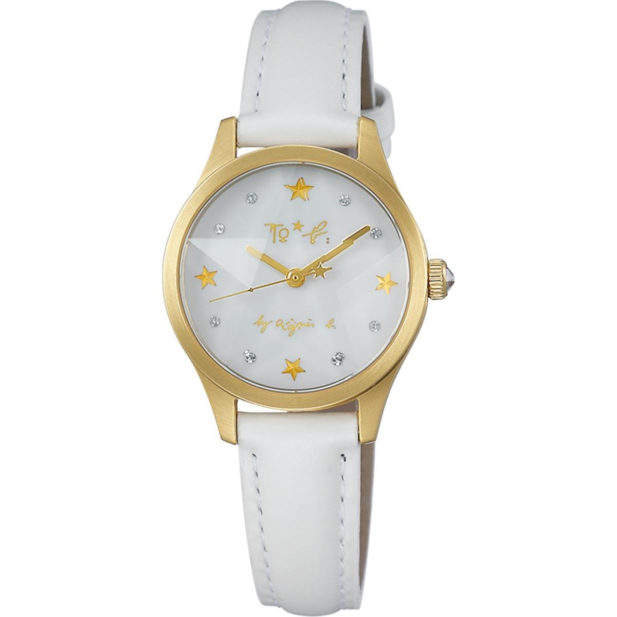 アニエスベー 腕時計 agnes b レディース 時計 スワロフスキー スター ホワイト/マットゴールド FCSK709 クリスマス限定モデル