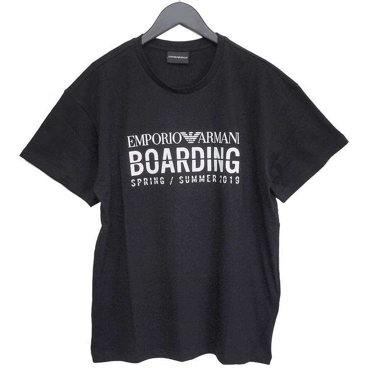 エンポリオアルマーニ EMPORIO ARMANI Tシャツ BOARDINGロゴ カプセルコレクション ブラック 3G1TD8-1JPJZ-0999