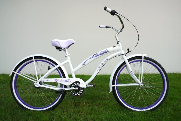 【代引き不可】グリーンライン ビーチクルーザー 26インチ パールホワイト/パープル Greenline(USA)K3AL 3Speed Peral white/Purple 自転車