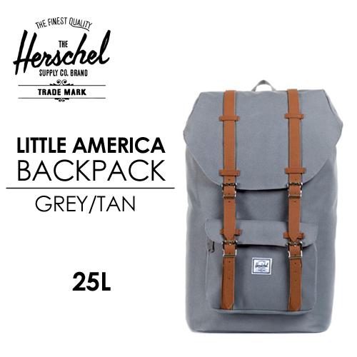 〔あす楽対応〕【送料無料】Herschel Supply,ハーシェルサプライ,バッグ,バックパック,リュック●LITTLE AMERICA BACKPACK GREY/TAN