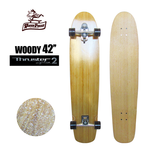 〔あす楽対応〕【送料無料】Gravity,グラビティー,スラスターシステム,スケボー,コンプリート●WOODY PRESS SURF SKATEBOARD 42