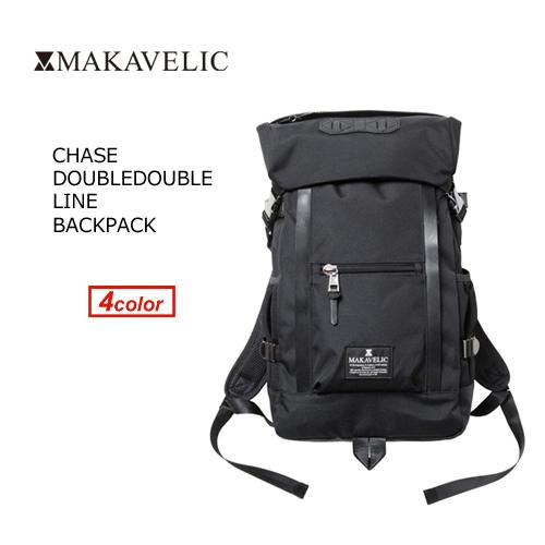 【送料無料】MAKAVELIC CHASE DOUBLE LINE BACKPACK マキャベリック チェスダブルライン バックパック ブラック