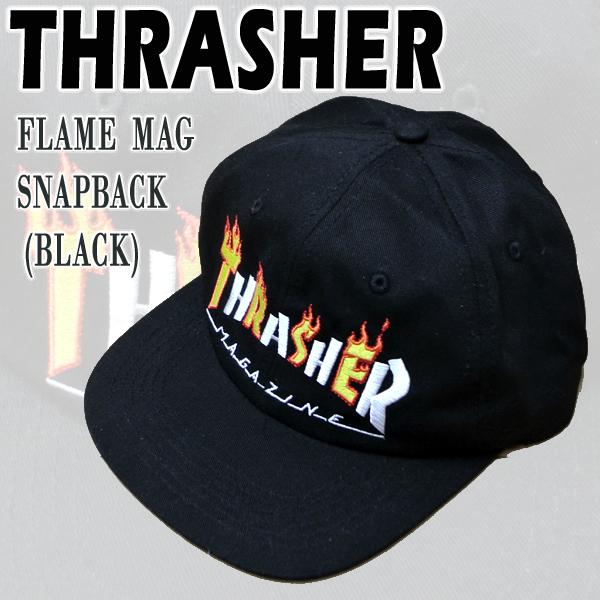 世界の人気ブランド THRASHER スラッシャー FLAME MAG SNAPBACK CAP入荷 値下げしました BLACK CAP HAT 日よけ 男性用 ハット MENS キャップ 25%OFF メンズ 帽子