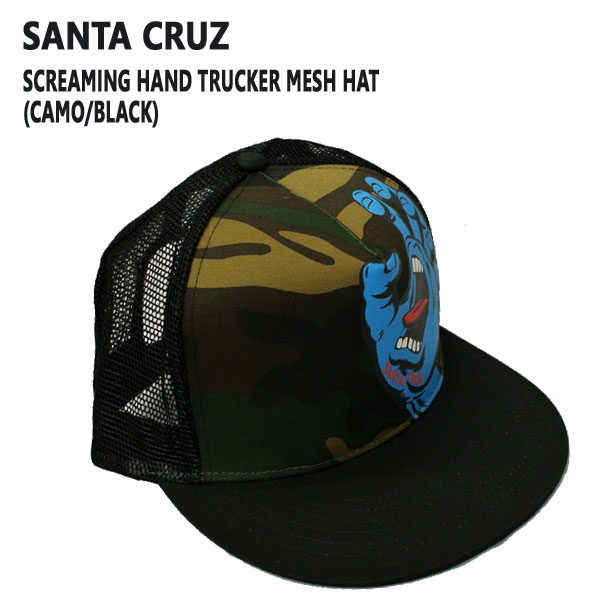 SANTACRUZ サンタクルズ SCREAMING HAND TRUCKER HAT 入荷 CAMO キャップ CAP BLACK 帽子_02P01Oct16 返品交換不可 ハット 店舗