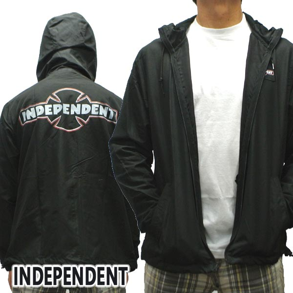 INDEPENDENT/インデペンデント O.G.B.C. PATCH HOODED WINDBREAKER L/S JACKET BLACK コーチジャケット 薄手 ウィンドブレーカー フード付き