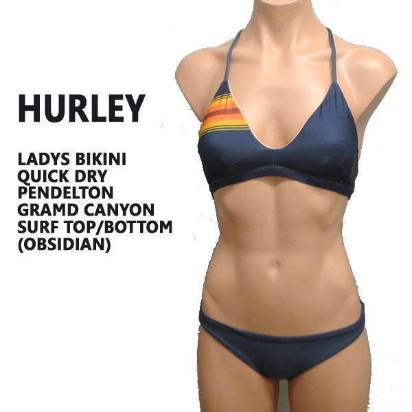 値下げしました!HURLEY/ハーレー 新作レディース BIKINI QUICK DRY PENDELETON GLACIER SURF TOP/BOTTOM OBSIDIAN 女性用 水着 ビキニ ペンデルトン