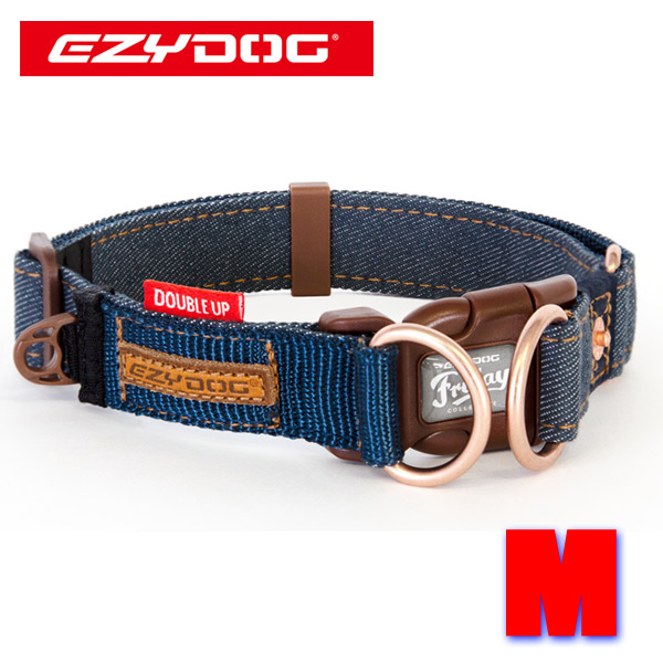 EZYDOG イージードッグ ダブルロックカラー 好評 DOUBLE UP COLLAR 犬用首輪新入荷 Mサイズ デニムコレクション 中型犬用 新作多数 犬用首輪 交換及びキャンセル不可 返品 DENIM