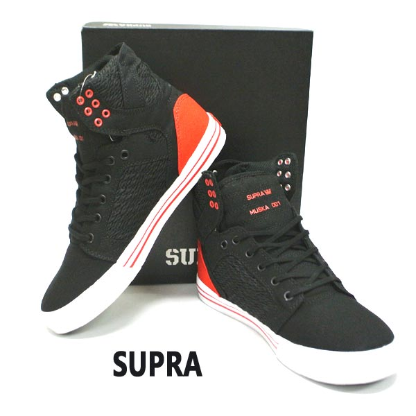 SUPRA/スープラ SKYTOP BLACK/PIRATE BLACK-WHITE 靴 スケートボードシューズ スニーカー 064 [サイズのある場合のみ交換可能 返品キャンセル一切不可]