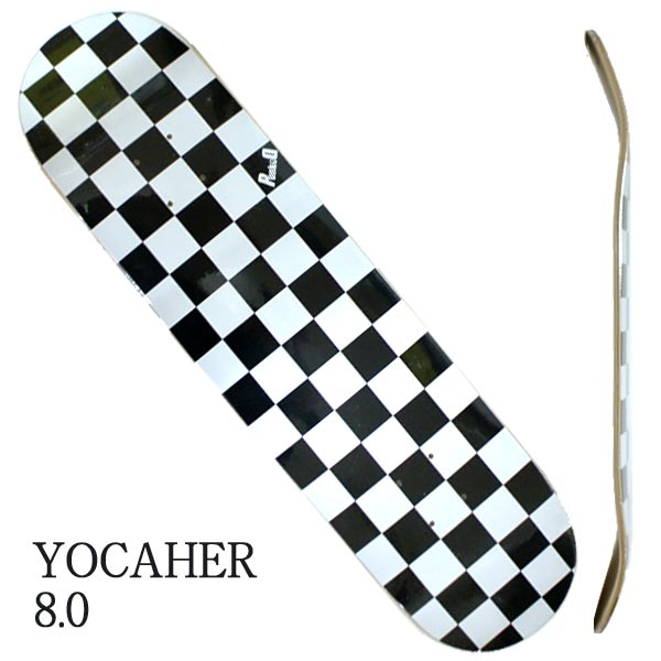 YOCAHER BLANK DECK CHECKER WHITE 8.0 入荷 SK8 ヨカエル スケボーデッキ ブランド品 チェッカー 返品 交換及びキャンセル不可 スケートボード ヨカハー 売れ筋