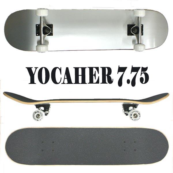 YOCAHER コンプリートスケートボード まとめ買い特価 スケボー SOLID SILVER 7.75 入荷 ER 交換及びキャンセル不可 SK8 返品 2020新作 COMPLETE 完成品 SKATEBOARD