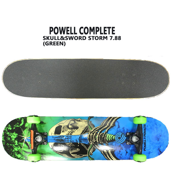 POWELL PERALTA/パウエルペラルタ コンプリートスケートボード SKULL&SWORD STORM GREEN 7.88 スケボー 完成品 SK8