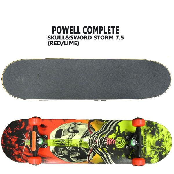 POWELL PERALTA/パウエルペラルタ コンプリートスケートボード SKULL&SWORD STORM RED/LIME 7.5 スケボー 完成品 SK8