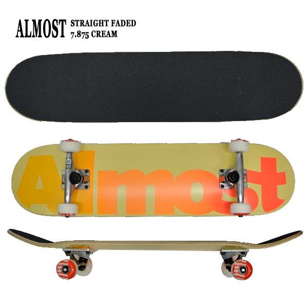ALMOST/オルモスト コンプリートスケートボード/スケボー STRAIGHT FADED FP CREAM 7.875 送料無料 SKATEBOARDS スケボー 完成品 SK8