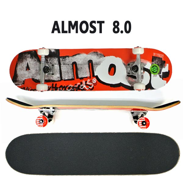 ALMOST/オルモスト コンプリートスケートボード/スケボー DISTRESSED FP RED 8.0 送料無料 SKATEBOARDS スケボー 完成品 SK8
