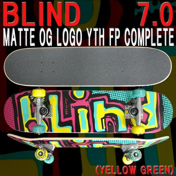 BLIND/ブラインド コンプリートスケートボード/スケボー MATTE OG LOGO YELLOW GREEN 7.0MINI 送料無料 SKATEBOARDS スケボー 完成品 SK8 子供用