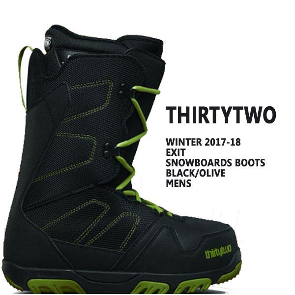 THIRTYTWO/サーティーツー/32 EXIT BLACK/OLIVE 17-18モデル スノーボードブーツSNOW BOARDS BOOTS サーティートゥー スノボ送料無料