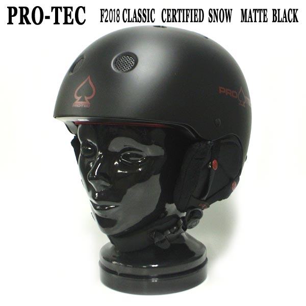PRO-TEC プロテックよりSNOWBOARDS 全商品オープニング価格 ヘルメット入荷 プロテック CLASSIC CERTIFIED [再販ご予約限定送料無料] SNOW HELMET MATTE BLACK 大人用 スノー ヘルメット スノボ用 SNOWBOARDS 雪山 18-19モデル