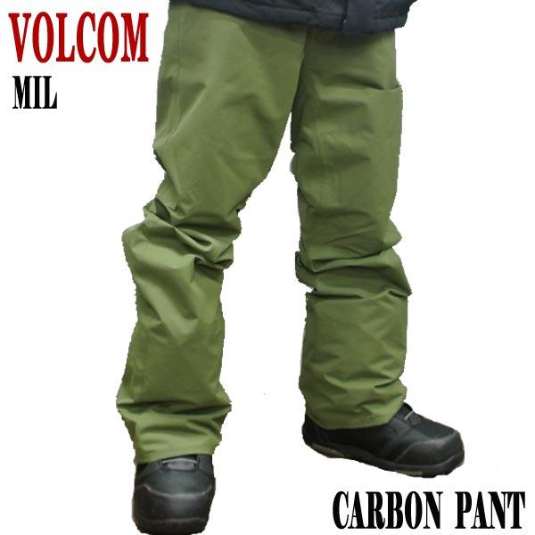 値下げしました!18-19モデル VOLCOM/ボルコム CARBON PANTS MILITARY メンズ 男性用 スノボ用パンツ エルゴフィット スノボウェア スノーウェア 耐水 防寒 機能性 10000MM スノーボード SNOWBOARDS