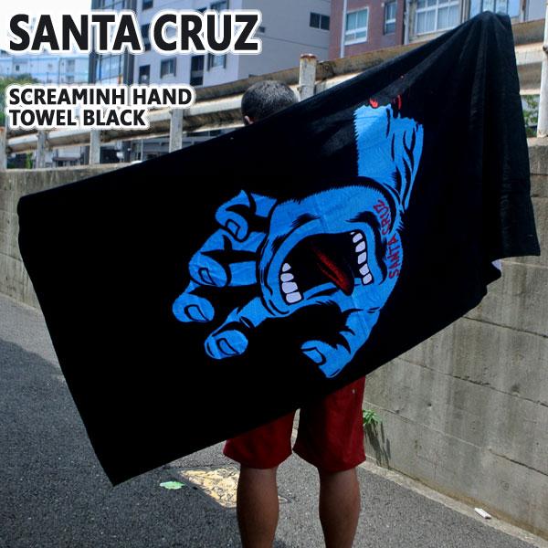 SANTA CRUZ サンタクルズ 国内即発送 爆買い新作 SCREAMING HAND TOWEL ビーチタオル BLACK スクリーミングハンド バスタオル ビーチタオル入荷