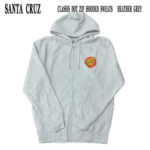 SANTA CRUZ サンタクルズ CLASSIC DOT ZIP 海外限定 HOODED SWEATS GREY 全国一律送料無料 ジップパーカー パーカー入荷 長袖 フード付き HEATHER