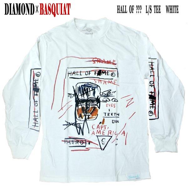 DIAMOND 購入 ダイヤモンド HALL OF??? L 早割クーポン S TEE WHITE 長袖Tシャツ 男性用 値下げしました T-shirts BASQUIATコラボ メンズ 入荷