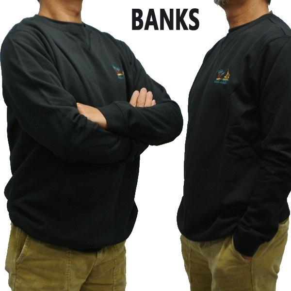値下げしました!BANKS/バンクス BAHAMAS GRAPHIC FLEECE DIRTY BLACK メンズ L/S 長袖 トレーナー スウェット 刺繍 [返品、交換及びキャンセル不可]