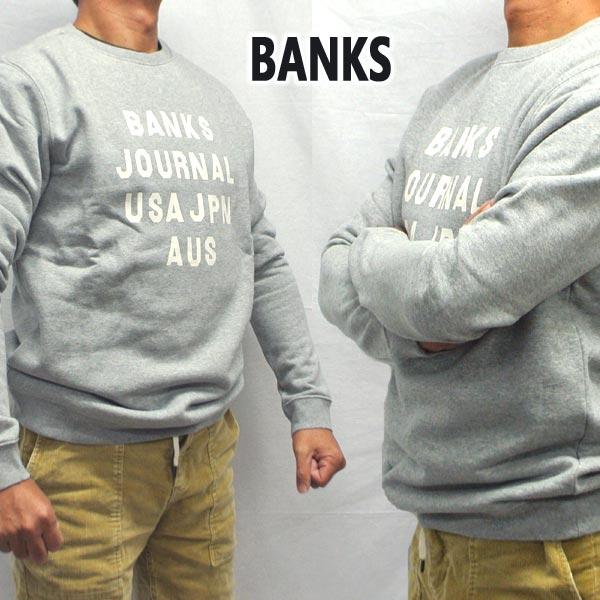 BANKS バンクス HEMISPHERE FLEECE HEATHER GREY メンズ L S 値下げしました アウトレットセール 卓出 特集 長袖 トレーナー入荷 トレーナー 返品 交換及びキャンセル不可 スウェット ロゴプリント
