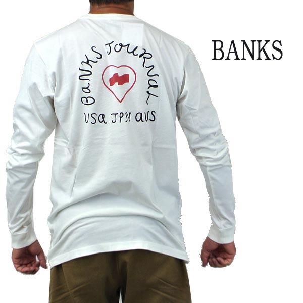在庫一掃売り切りセール BANKS バンクス HEART SIGNS OFF WHITE メンズ L S 0003 入荷予定 TEE Tシャツ 長袖 交換及びキャンセル不可 長袖Tシャツ入荷 プリント 返品