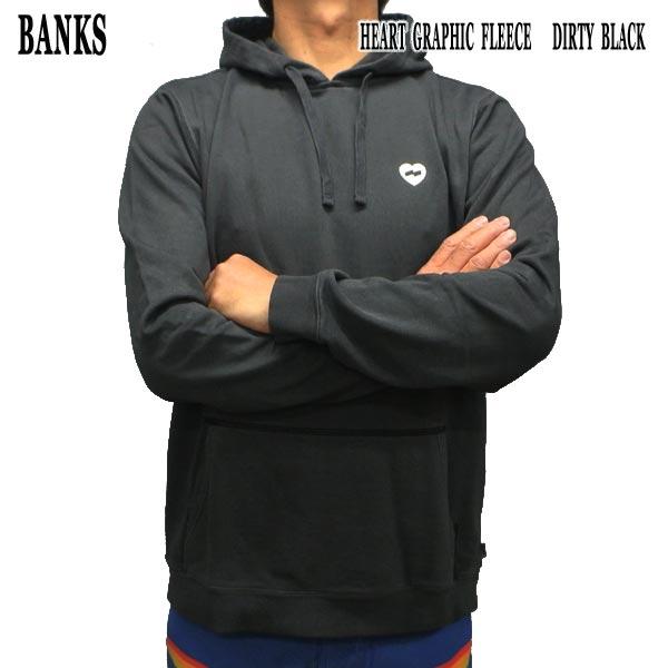 お買得 BANKS バンクス HEART GRAPHIC FLEECE DIRTY BLACK 値下げしました フード付き 絶品 クルースウェットシャツ メンズ 入荷 男性用 トレーナー