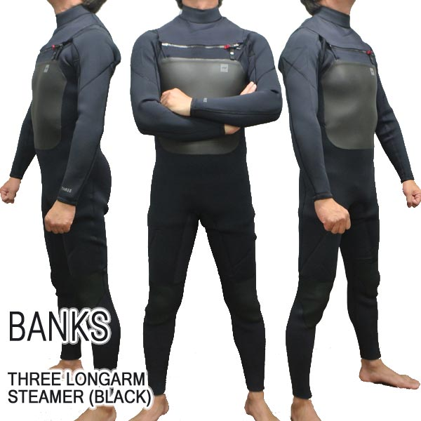 値下げしました!BANKS/バンクス THREE LONG ARM STEAMER FULLSUIT BLK ウェットスーツ サーフィン 送料無料 男性用
