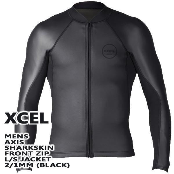 XCEL/エクセル 2/1mm AXIS SHARKSKIN FRONT ZIP L/S JACKET WET SUITS/ウェットスーツ BLACK 長袖タッパ 送料無料 男性用