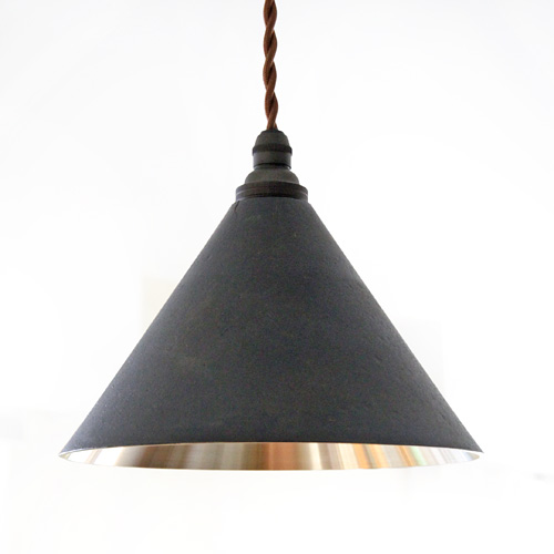 FUTAGAMI真鍮のペンダントランプ鋳肌・円錐 削り出し仕上げ 黒ムラ仕上げ