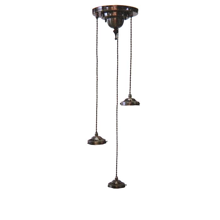 Antique Style Lightings3灯灯具アンティーク色口径80mmシェード用