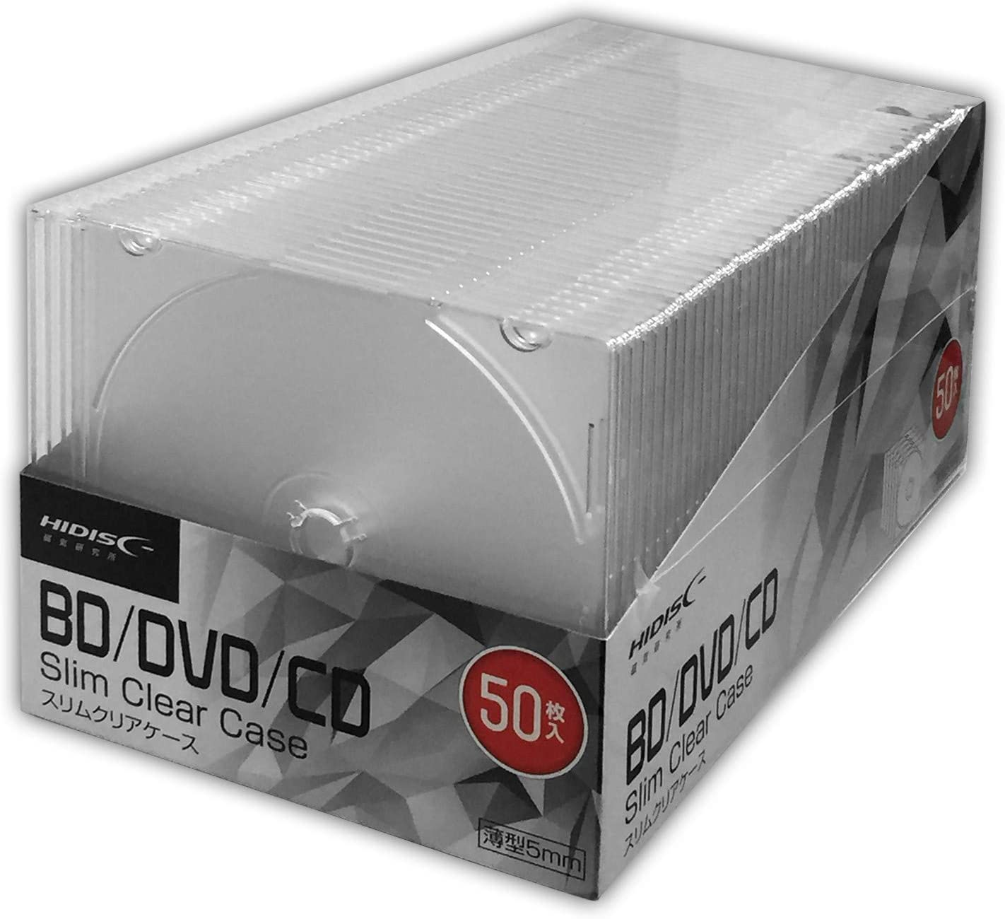 HIDISK CD DVD BD メーカー取寄 流行 買物 50枚 5mmスリムケース 1枚収納
