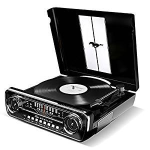 【送料無料】 ION Audio LPプレーヤー 1965年製フォード マスタング デザイン 4種再生可能 (レコード、ラジオ、USB、外部入力) Mustang LP ブラック (取寄商品)