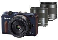 【中古】カメラ Canon ミラーレスカメラ EOS M2 トリプルレンズキット 1800万画素 (ベイブルー) [EOSM2BL-TLK] (状態:箱状態難※内箱含む)