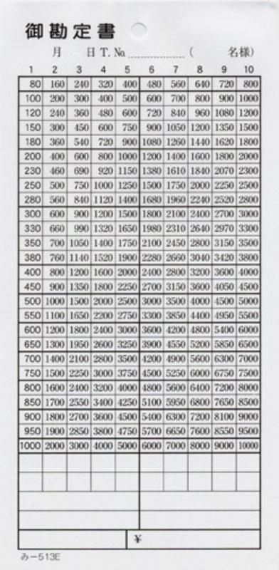 御勘定書 200冊【み-513E】[みつや お会計伝票 単式伝票 大口割引]