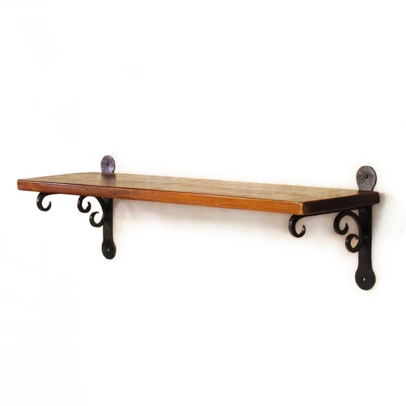 壁掛け棚 アイアン ウォールシェルフ 600mm 60cm 金具 棚受け ローズウッド シーシャムウッドの壁掛け棚600